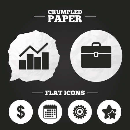 paper case: Crumpled paper speech bubble. Business icons. Graph chart and case signs. Dollar currency and gear cogwheel symbols. Paper button. Vector Illustration