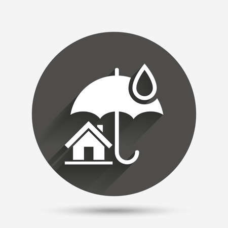 belay: Home insurance sign icon. Real estate insurance symbol. Circle flat button with shadow. Vector
