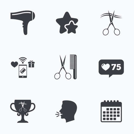 comb hair: Hairdresser icons. Scissors cut hair symbol. Comb hair with hairdryer symbol. Barbershop winner award cup. Flat talking head, calendar icons. Stars, like counter icons. Vector