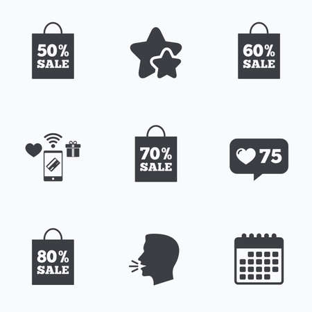 head tag: Sale bag tag icons. Discount special offer symbols. 50%, 60%, 70% and 80% percent sale signs. Flat talking head, calendar icons. Stars, like counter icons. Vector