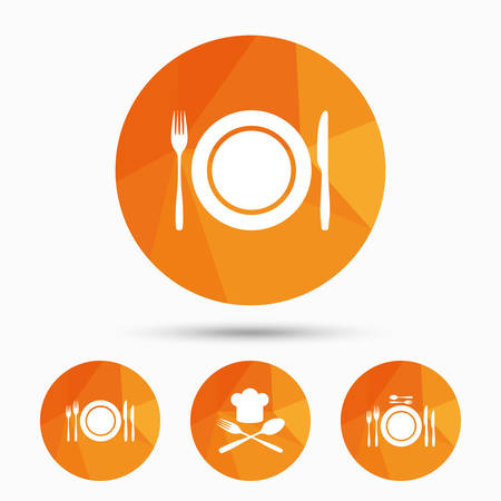 etiquette: Plate dish with forks and knifes icons. Chief hat sign. Crosswise cutlery symbol. Dining etiquette. Triangular low poly buttons with shadow. Vector