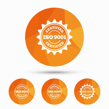 ISO 9001 and 14001 certified icons. Certification star stamps symbols. Quality standard signs. Triangular low poly buttons with shadow. Vector