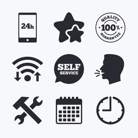 hammer head: Repair fix tool icons. 24h Customer support service signs. 100% quality guarantee symbol. Hammer with wrench key. Wifi internet, favorite stars, calendar and clock. Talking head. Vector