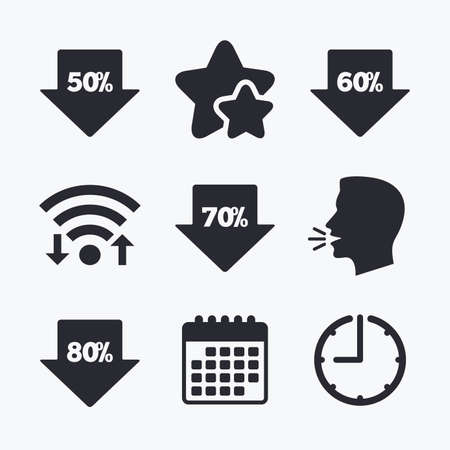 50 to 60: Sale arrow tag icons. Discount special offer symbols. 50%, 60%, 70% and 80% percent discount signs. Wifi internet, favorite stars, calendar and clock. Talking head. Vector