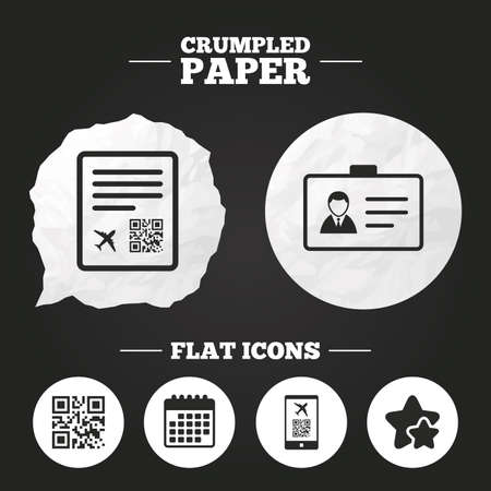 scan paper: Crumpled paper speech bubble. QR scan code in smartphone icon. Boarding pass flight sign. Identity ID card badge symbol. Paper button. Vector Illustration