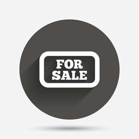 selling: For sale sign icon. Real estate selling. Circle flat button with shadow. Vector