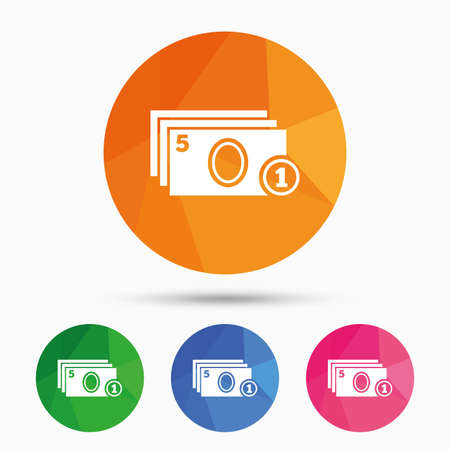 withdrawals: Cash and coin sign icon. Paper money symbol. For cash machines or ATM. Triangular low poly button with flat icon. Vector Illustration