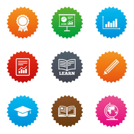schoolbook: Education and study icon. Presentation signs. Report, analysis and award medal symbols. Stars label button with flat icons. Vector Illustration