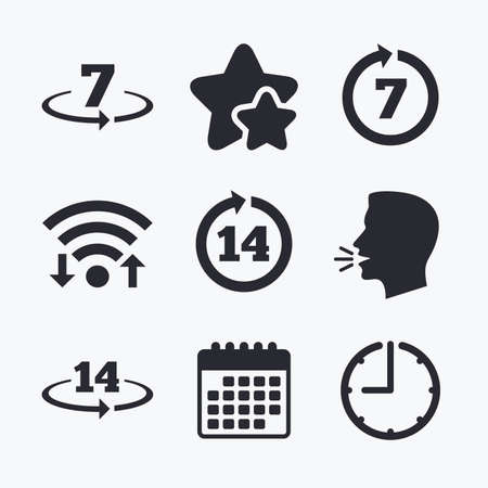 days: Return of goods within 7 or 14 days icons. Warranty 2 weeks exchange symbols. Wifi internet, favorite stars, calendar and clock. Talking head. Vector Illustration