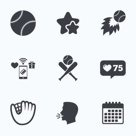 crosswise: Baseball sport icons. Ball with glove and two crosswise bats signs. Fireball symbol. Flat talking head, calendar icons. Stars, like counter icons. Vector