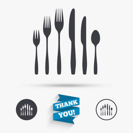 teaspoon: Dessert fork, knife, teaspoon sign icon. Cutlery collection set symbol. Flat icons. Buttons with icons. Thank you ribbon. Vector