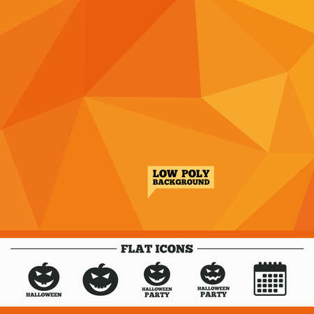 hallows: Triangular low poly orange background. Halloween pumpkin icons. Halloween party sign symbol. All Hallows Day celebration. Calendar flat icon. Vector