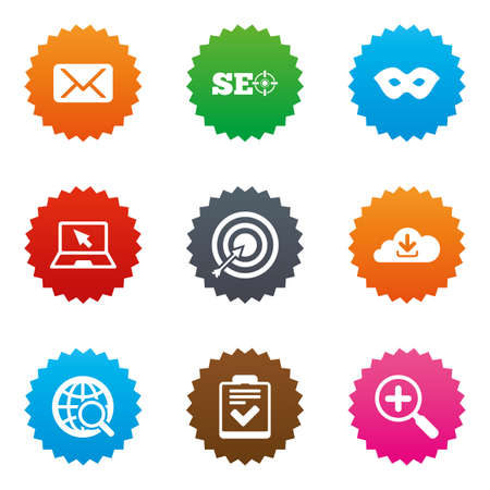 Internet, seo icons. Checklist, target and mail signs. Mask, download cloud and magnifier symbols. Stars label button with flat icons. Vector