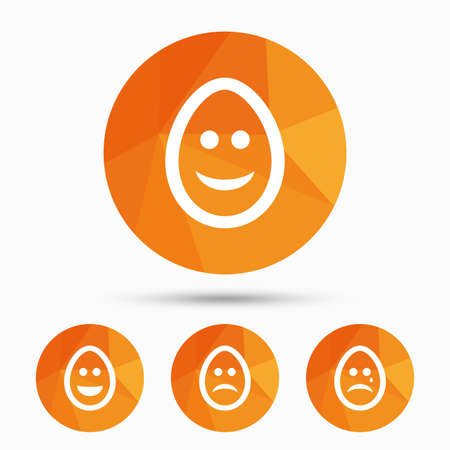 pasch: Eggs happy and sad faces icons. Crying smiley with tear symbols. Tradition Easter Pasch signs. Triangular low poly buttons with shadow. Vector