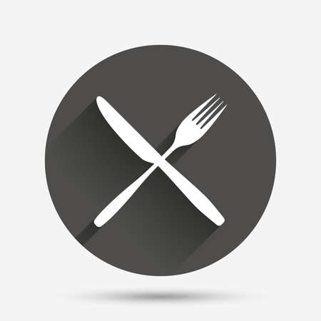 crosswise: Eat sign icon. Cutlery symbol. Fork and knife crosswise. Circle flat button with shadow. Vector