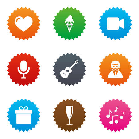 Party celebration, birthday icons. Carnival, guitar and champagne glass signs. Gift box, ice cream and love symbols. Stars label button with flat icons. Vector Illustration
