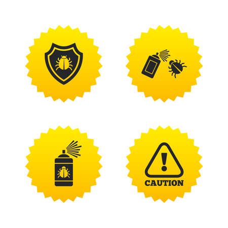 Bug disinfection icons. Caution attention and shield symbols. Insect fumigation spray sign. Yellow stars labels with flat icons. Vector Illustration