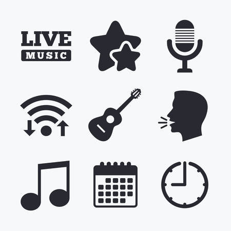 jazz time: Musical elements icons. Microphone and Live music symbols. Music note and acoustic guitar signs. Wifi internet, favorite stars, calendar and clock. Talking head. Vector