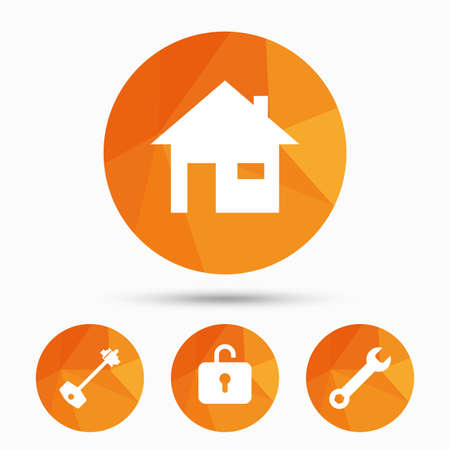 tool unlock: Home key icon. Wrench service tool symbol. Locker sign. Main page web navigation. Triangular low poly buttons with shadow. Vector Illustration