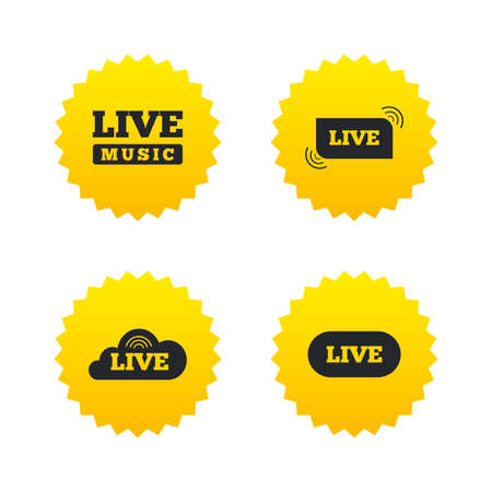 live on air: Live music icons. Karaoke or On air stream symbols. Cloud sign. Yellow stars labels with flat icons. Vector
