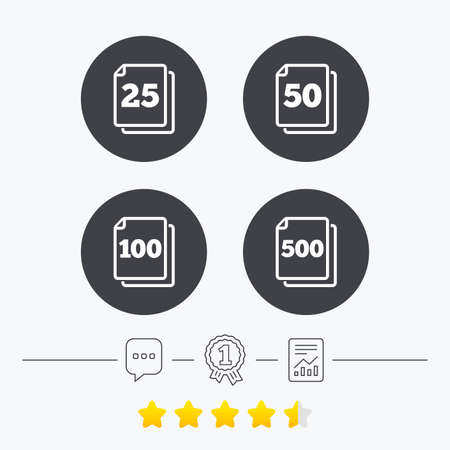 quantity: In pack sheets icons. Quantity per package symbols. 25, 50, 100 and 500 paper units in the pack signs. Chat, award medal and report linear icons. Star vote ranking. Vector
