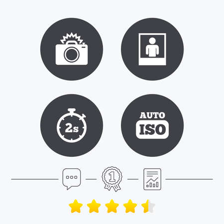 seconds: Photo camera icon. Flash light and Auto ISO symbols. Stopwatch timer 2 seconds sign. Human portrait photo frame. Chat, award medal and report linear icons. Star vote ranking. Vector