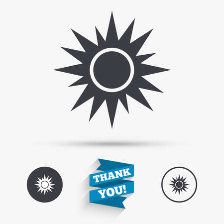 solarium: Sun sign icon. Solarium symbol. Heat button. Flat icons. Buttons with icons. Thank you ribbon. Vector