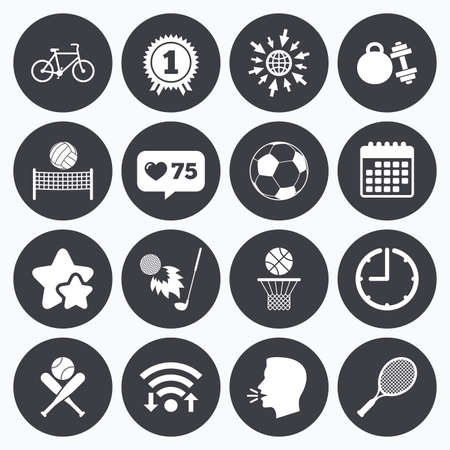 medal like: Calendar, wifi and clock symbols. Like counter, stars symbols. Sport games, fitness icons. Football, basketball and tennis signs. Golf, bike and winner medal symbols. Talking head, go to web symbols. Vector
