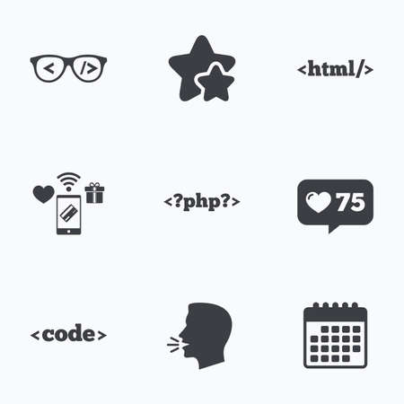 coder: Programmer coder glasses icon. HTML markup language and PHP programming language sign symbols. Flat talking head, calendar icons. Stars, like counter icons. Vector
