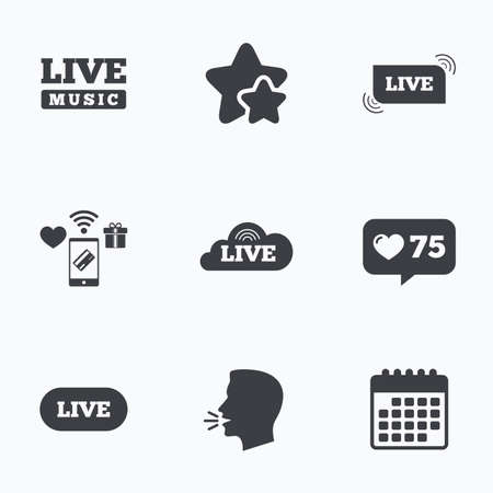 live stream sign: Live music icons. Karaoke or On air stream symbols. Cloud sign. Flat talking head, calendar icons. Stars, like counter icons. Vector Illustration