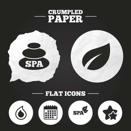 tear drop: Crumpled paper speech bubble. Spa stones icons. Water drop with leaf symbols. Natural tear sign. Paper button. Vector Illustration