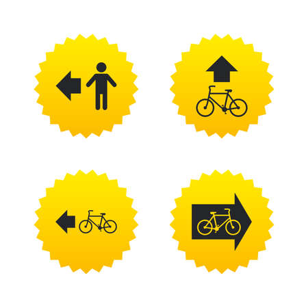 trail sign: Pedestrian road icon. Bicycle path trail sign. Cycle path. Arrow symbol. Yellow stars labels with flat icons. Vector