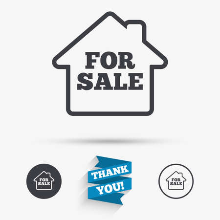 selling: For sale sign icon. Real estate selling. Flat icons. Buttons with icons. Thank you ribbon. Vector