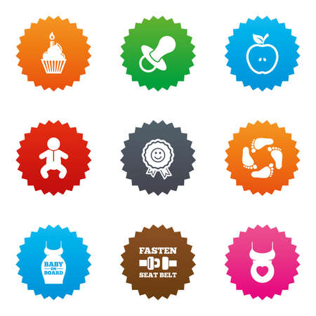 newborn footprint: Pregnancy, maternity and baby care icons. Apple, award and pacifier signs. Footprint, birthday cake and newborn symbols. Stars label button with flat icons. Vector