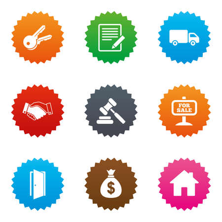Real estate, auction icons. Handshake, for sale and money bag signs. Keys, delivery truck and door symbols. Stars label button with flat icons. Vector