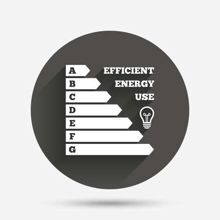 consumption: Energy efficiency icon. Electricity consumption symbol. Idea lamp sign. Circle flat button with shadow. Vector