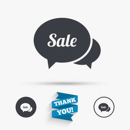 you are special: Speech bubble Sale sign icon. Special offer symbol. Flat icons. Buttons with icons. Thank you ribbon. Vector