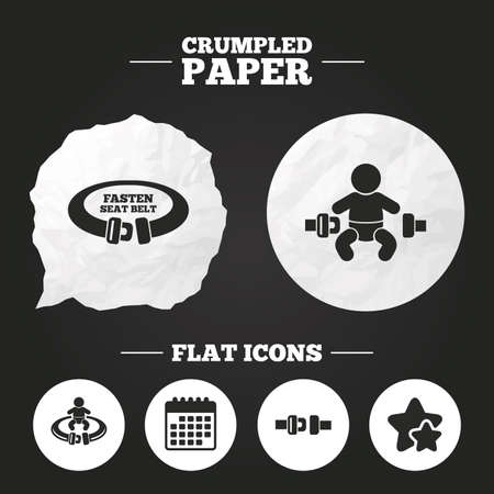 child safety: Crumpled paper speech bubble. Fasten seat belt icons. Child safety in accident symbols. Vehicle safety belt signs. Paper button. Vector