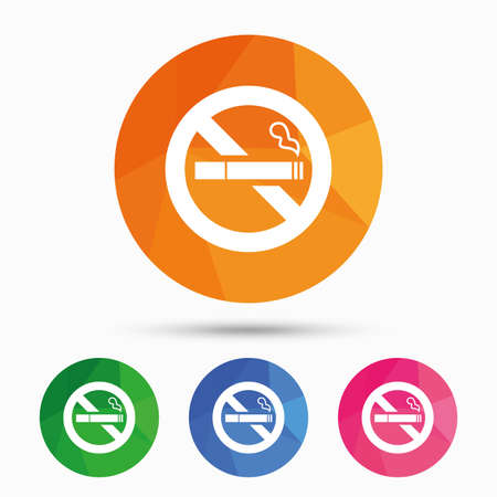 quit: No Smoking sign icon. Quit smoking. Cigarette symbol. Triangular low poly button with flat icon. Vector
