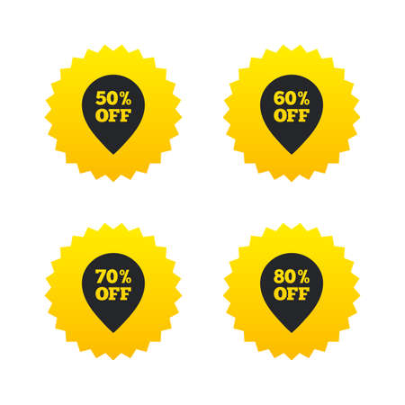 50 to 60: Sale pointer tag icons. Discount special offer symbols. 50%, 60%, 70% and 80% percent off signs. Yellow stars labels with flat icons. Vector
