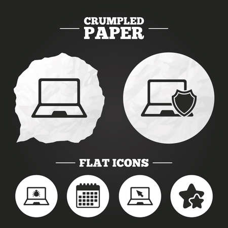 Crumpled paper speech bubble. Notebook laptop pc icons. Virus or software bug signs. Shield protection symbol. Mouse cursor pointer. Paper button. Vector