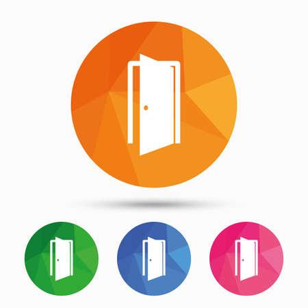 ajar: Door sign icon. Enter or exit symbol. Internal door. Triangular low poly button with flat icon. Vector