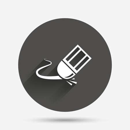 erase: Eraser icon. Erase pencil line symbol. Correct or Edit drawing sign. Circle flat button with shadow. Vector