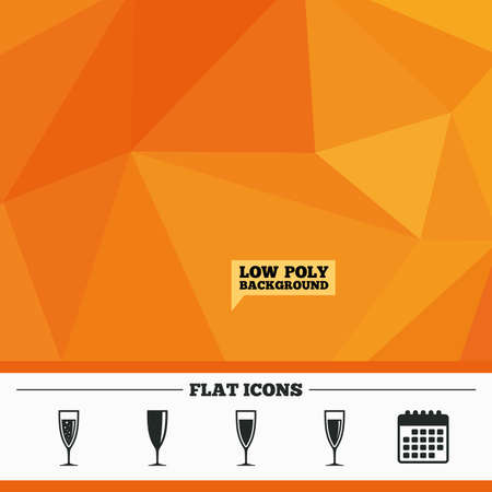 champagne orange: Triangular low poly orange background. Champagne wine glasses icons. Alcohol drinks sign symbols. Sparkling wine with bubbles. Calendar flat icon. Vector