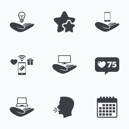 head protection: Helping hands icons. Intellectual property insurance symbol. Smartphone, TV monitor and pc notebook sign. Device protection. Flat talking head, calendar icons. Stars, like counter icons. Vector