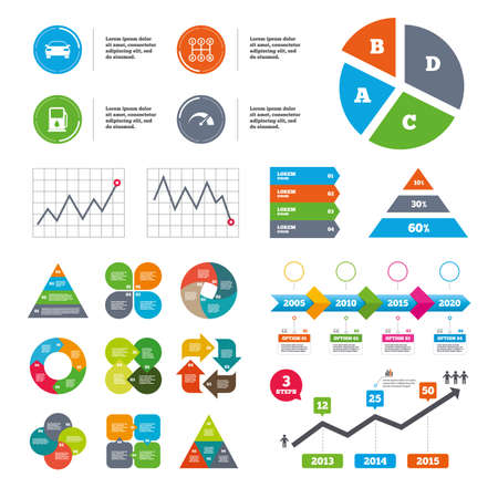 data transmission: Data pie chart and graphs. Transport icons. Car tachometer and manual transmission symbols. Petrol or Gas station sign. Presentations diagrams. Vector