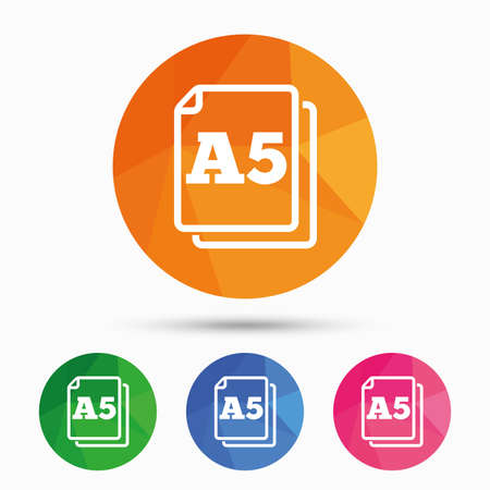 a5: Paper size A5 standard icon. File document symbol. Triangular low poly button with flat icon. Vector