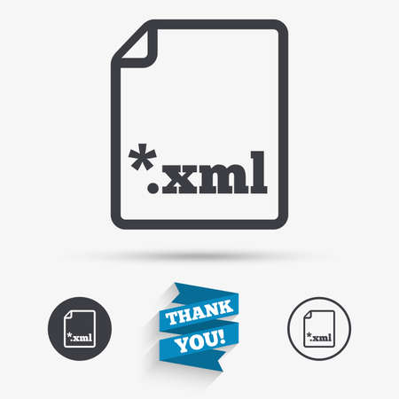 xml: File document icon. Download XML button. XML file extension symbol. Flat icons. Buttons with icons. Thank you ribbon. Vector