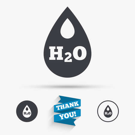 tear: H2O Water drop sign icon. Tear symbol. Flat icons. Buttons with icons. Thank you ribbon. Vector