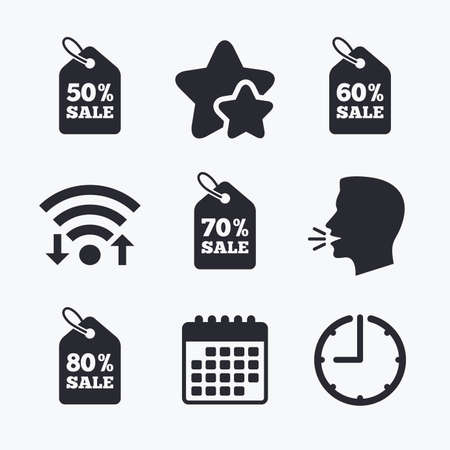 head tag: Sale price tag icons. Discount special offer symbols. 50%, 60%, 70% and 80% percent sale signs. Wifi internet, favorite stars, calendar and clock. Talking head. Vector